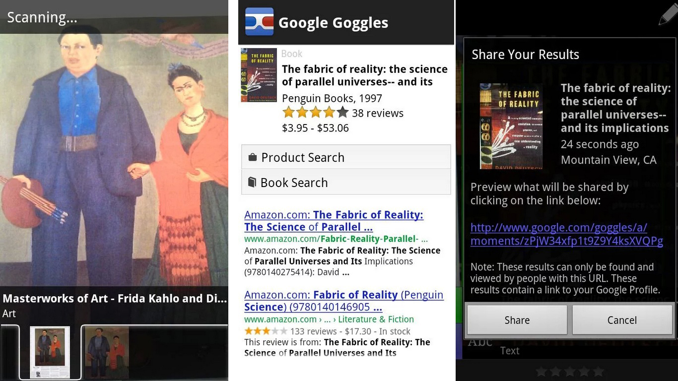 Google goggles Apps