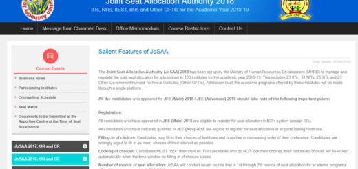 JoSAA 2018 JEE Main College Selection Choice Filling