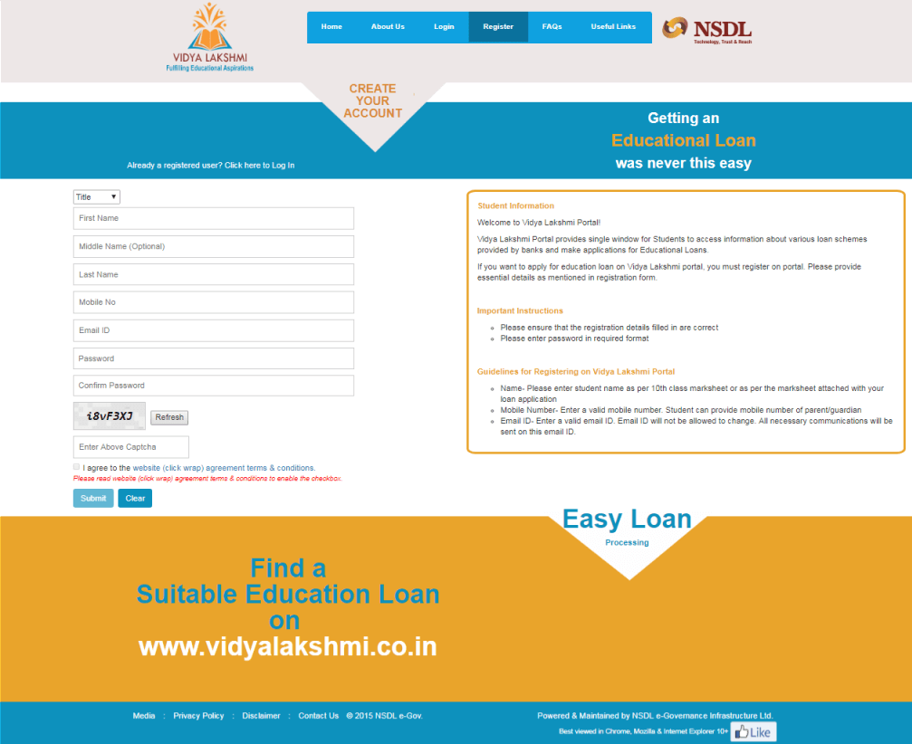 Vidya Lakshmi Portal Education Loan